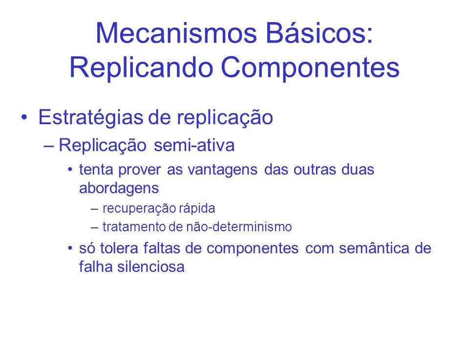 Mecanismos Básicos: Replicando Componentes Estratégias de replicação –Replicação semi-ativa tenta prover as vantagens das outras duas abordagens –recuperação rápida –tratamento de não-determinismo só tolera faltas de componentes com semântica de falha silenciosa