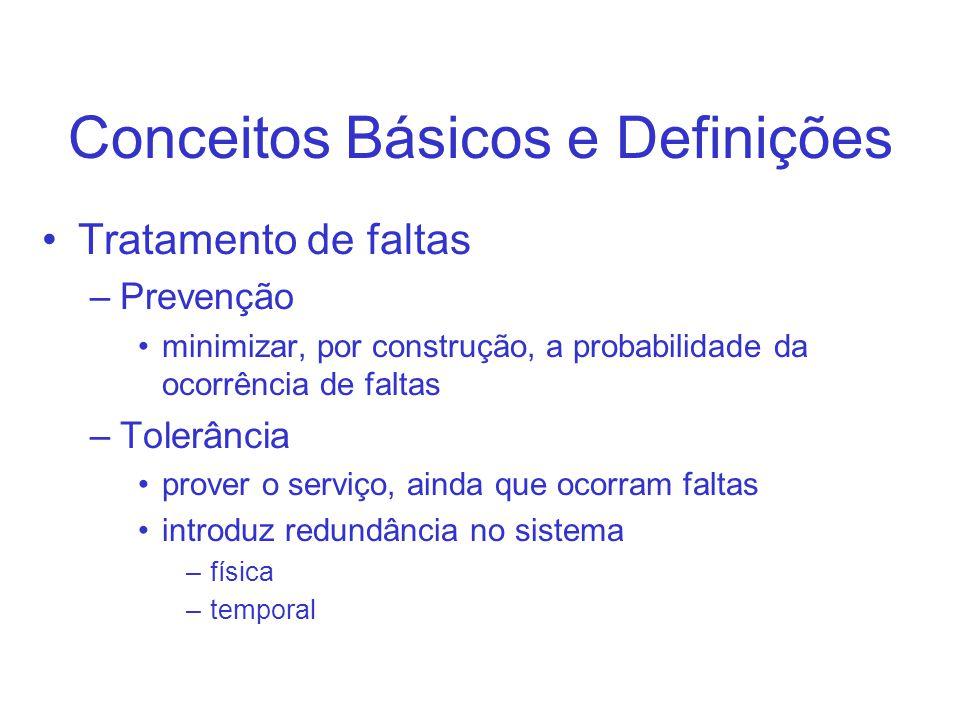Conceitos Básicos e Definições Tratamento de faltas –Prevenção minimizar, por construção, a probabilidade da ocorrência de faltas –Tolerância prover o