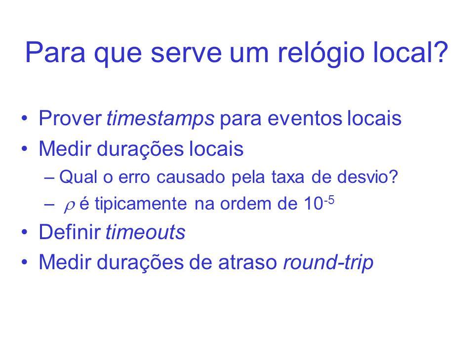 Para que serve um relógio local? Prover timestamps para eventos locais Medir durações locais –Qual o erro causado pela taxa de desvio? – é tipicamente