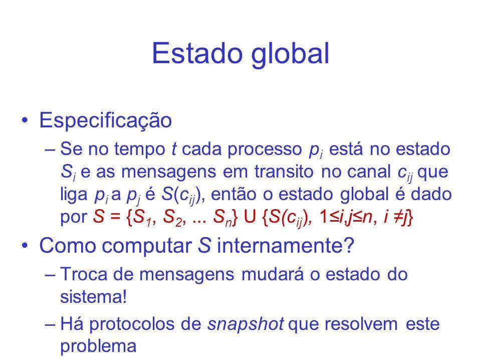 Relógios globais Um relógio global é construído através da sincronização de relógios locais por um protocolo de sincronização de relógio –Cada processo p cria um relógio virtual (rv p ) a partir do seu relógio local (rf p ) –Os relógios virtuais são criados de forma a estarem sincronizados –São resincronizados de tempos em tempos –NTP é o protocolo mais comum para isso