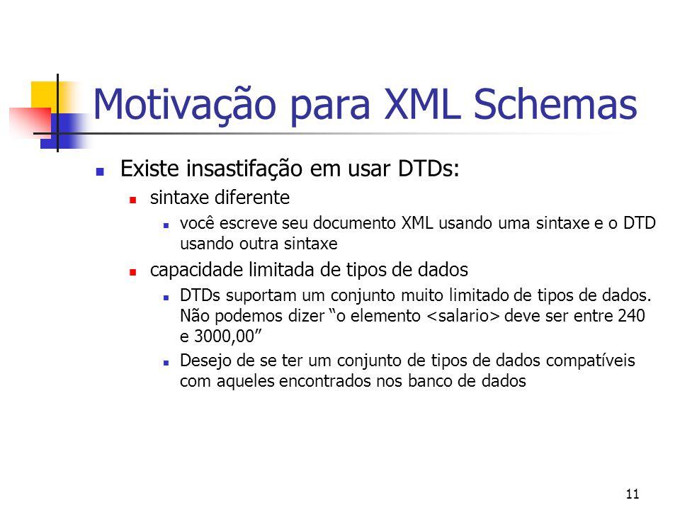 11 Motivação para XML Schemas Existe insastifação em usar DTDs: sintaxe diferente você escreve seu documento XML usando uma sintaxe e o DTD usando outra sintaxe capacidade limitada de tipos de dados DTDs suportam um conjunto muito limitado de tipos de dados.