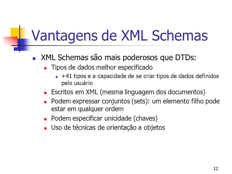 12 Vantagens de XML Schemas XML Schemas são mais poderosos que DTDs: Tipos de dados melhor especificado +41 tipos e a capacidade de se criar tipos de dados definidos pelo usuário Escritos em XML (mesma linguagem dos documentos) Podem expressar conjuntos (sets): um elemento filho pode estar em qualquer ordem Podem especificar unicidade (chaves) Uso de técnicas de orientação a objetos