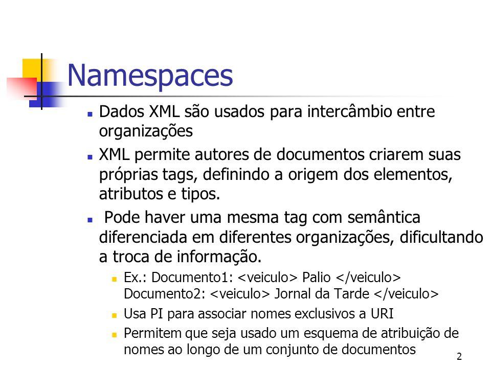 2 Dados XML são usados para intercâmbio entre organizações XML permite autores de documentos criarem suas próprias tags, definindo a origem dos elementos, atributos e tipos.