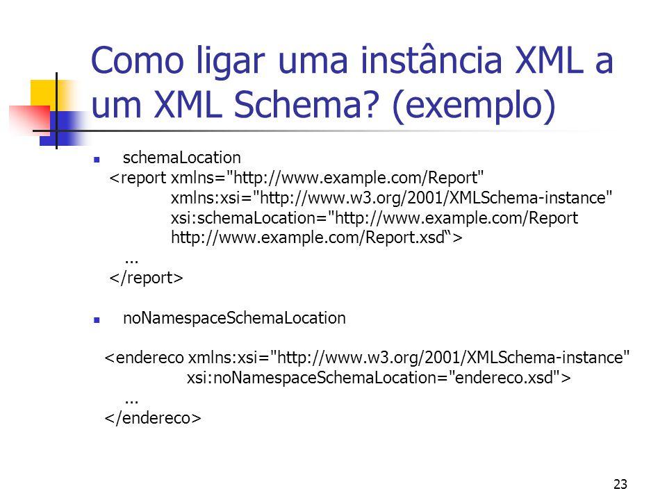 23 Como ligar uma instância XML a um XML Schema? (exemplo) schemaLocation <report xmlns=
