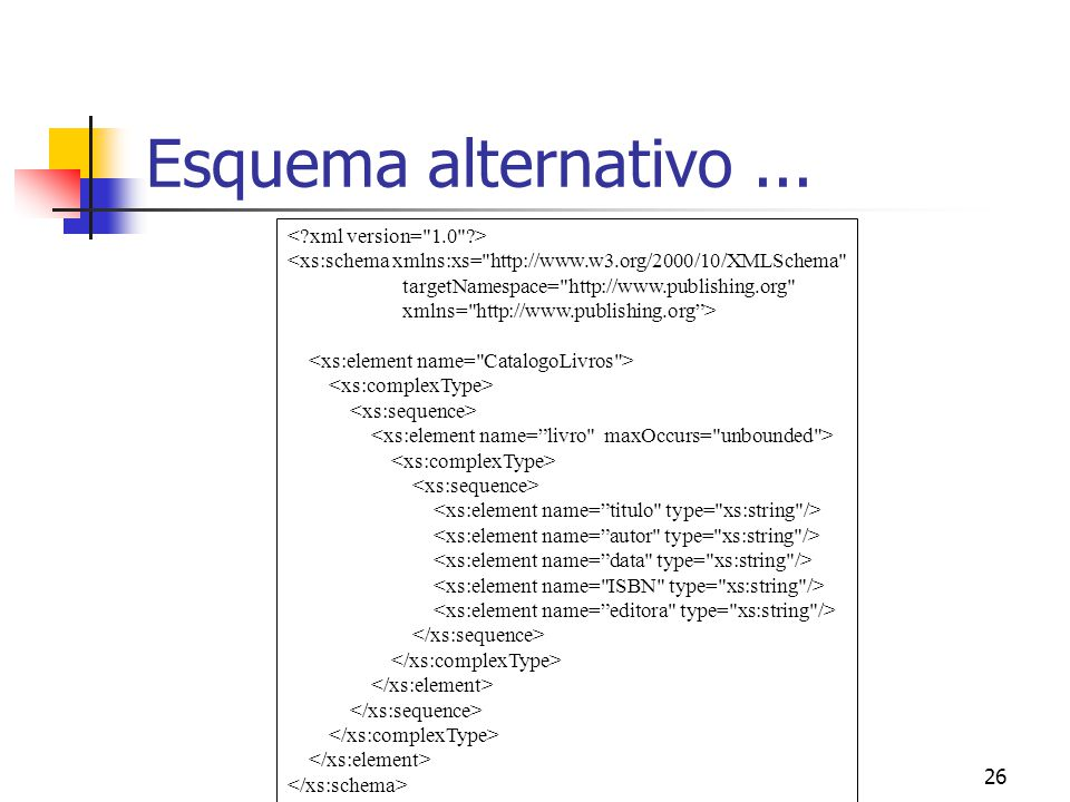 26 Esquema alternativo... <xs:schema xmlns:xs=