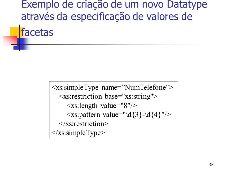 35 Exemplo de criação de um novo Datatype através da especificação de valores de facetas