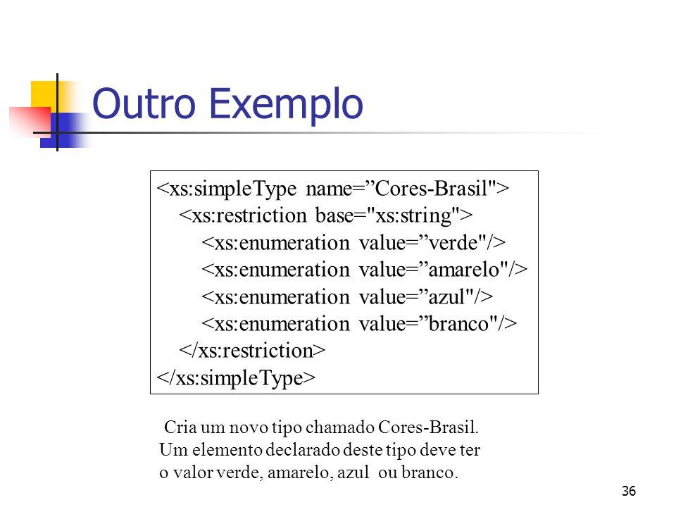 36 Outro Exemplo Cria um novo tipo chamado Cores-Brasil.