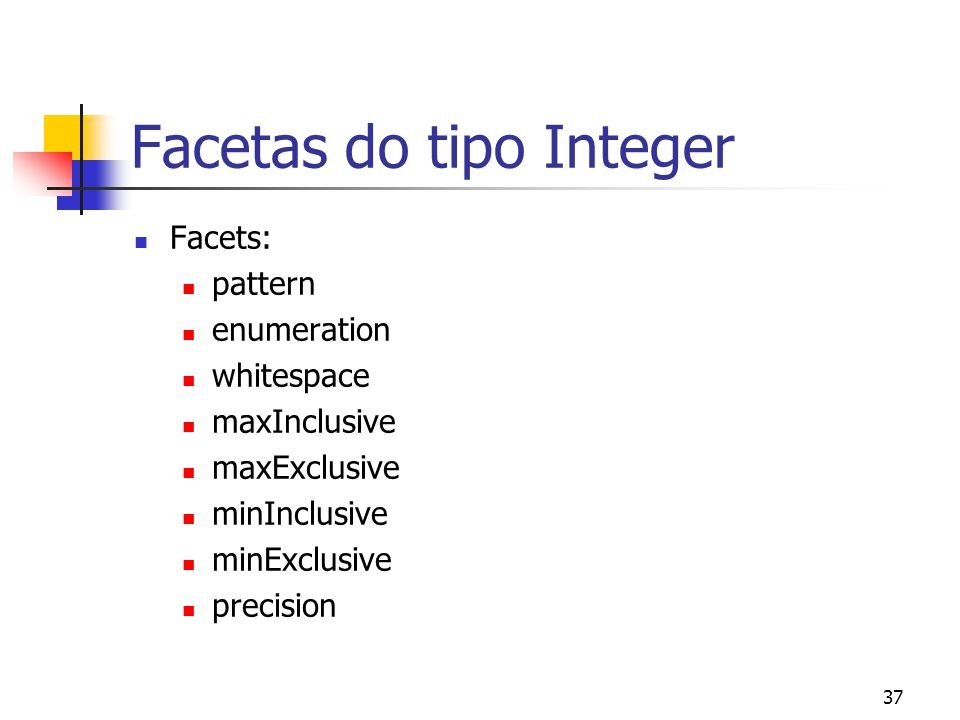 37 Facetas do tipo Integer Facets: pattern enumeration whitespace maxInclusive maxExclusive minInclusive minExclusive precision