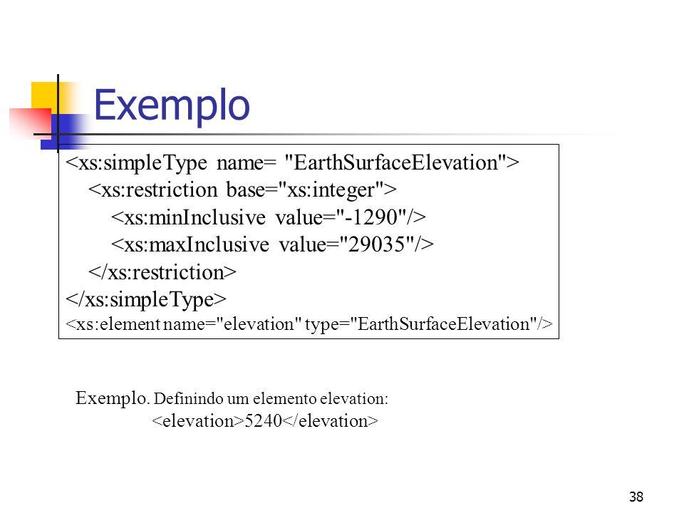 38 Exemplo Exemplo. Definindo um elemento elevation: 5240