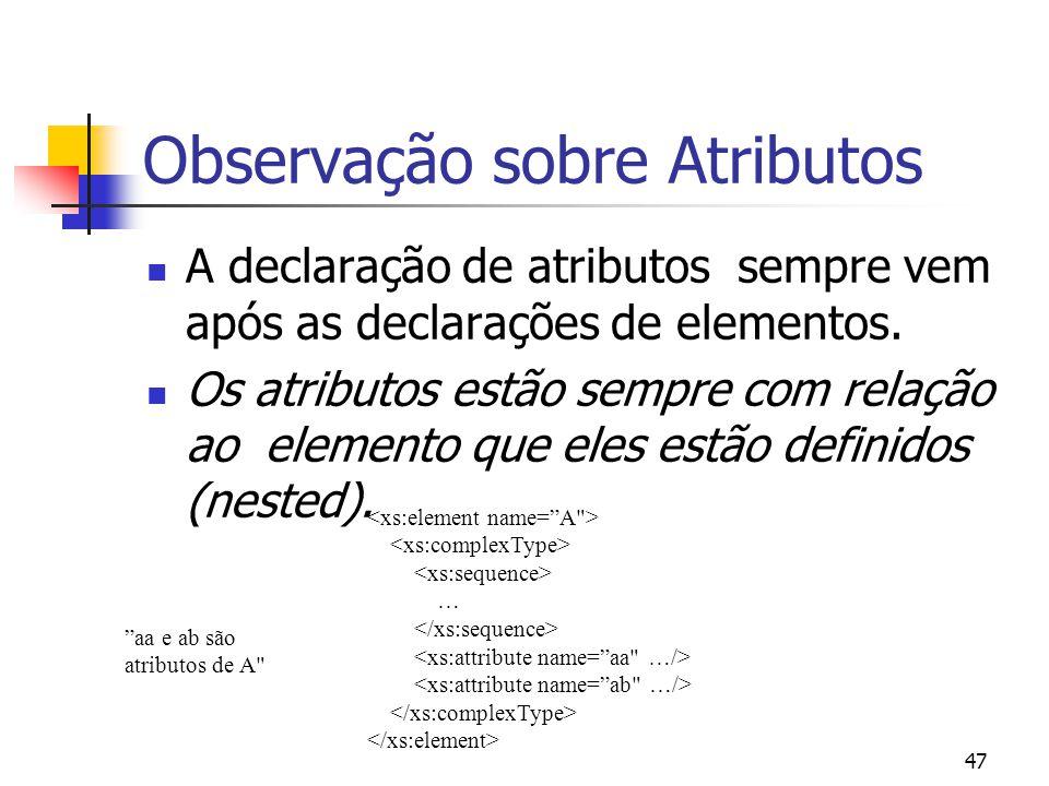 47 Observação sobre Atributos A declaração de atributos sempre vem após as declarações de elementos. Os atributos estão sempre com relação ao elemento