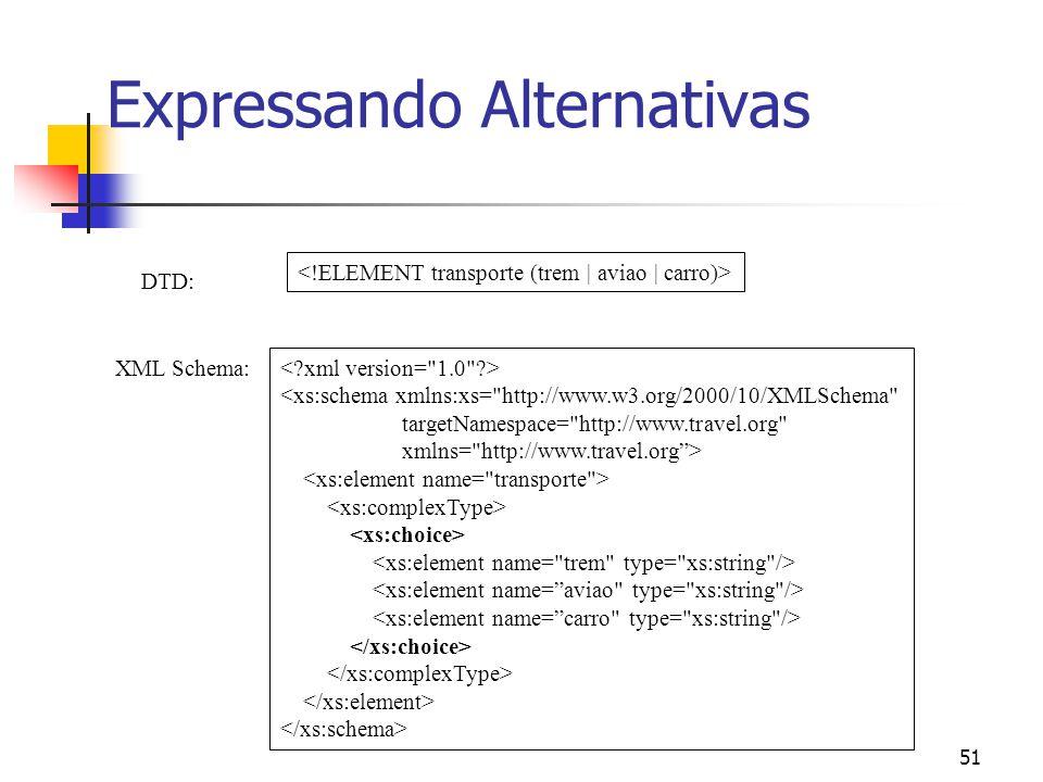 51 Expressando Alternativas DTD: XML Schema: <xs:schema xmlns:xs= http://www.w3.org/2000/10/XMLSchema targetNamespace= http://www.travel.org xmlns= http://www.travel.org>