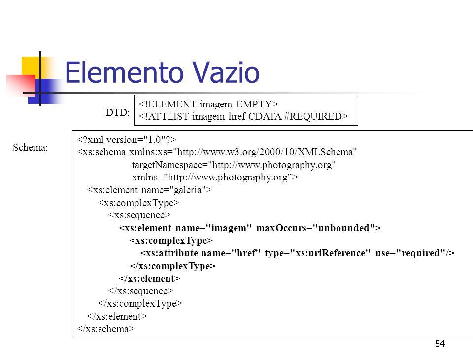 54 Elemento Vazio <xs:schema xmlns:xs= http://www.w3.org/2000/10/XMLSchema targetNamespace= http://www.photography.org xmlns= http://www.photography.org> Schema: DTD: