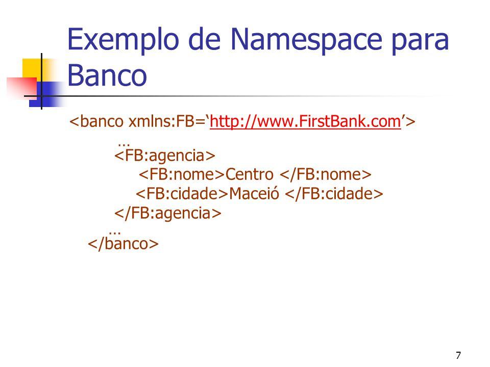7 Exemplo de Namespace para Banco …http://www.FirstBank.com Centro Maceió …