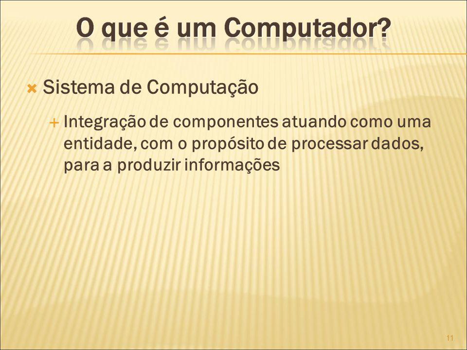 Sistema de Computação Integração de componentes atuando como uma entidade, com o propósito de processar dados, para a produzir informações 11
