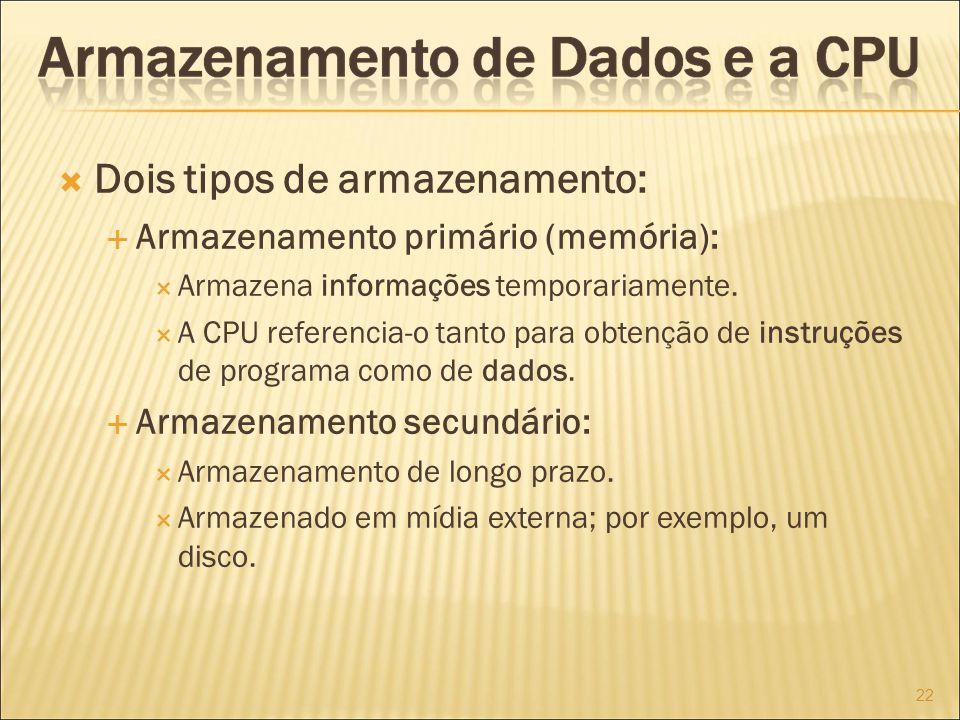 Dois tipos de armazenamento: Armazenamento primário (memória): Armazena informações temporariamente.