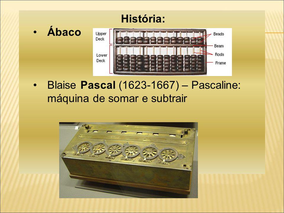 História: Ábaco Blaise Pascal (1623-1667) – Pascaline: máquina de somar e subtrair