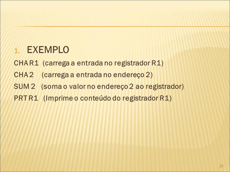 1. EXEMPLO CHA R1 (carrega a entrada no registrador R1) CHA 2 (carrega a entrada no endereço 2) SUM 2 (soma o valor no endereço 2 ao registrador) PRT