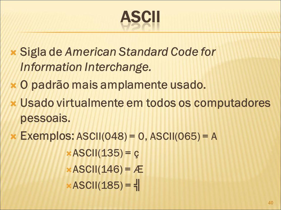 Sigla de American Standard Code for Information Interchange.