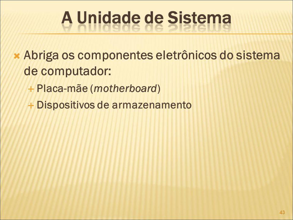 Abriga os componentes eletrônicos do sistema de computador: Placa-mãe (motherboard) Dispositivos de armazenamento 43