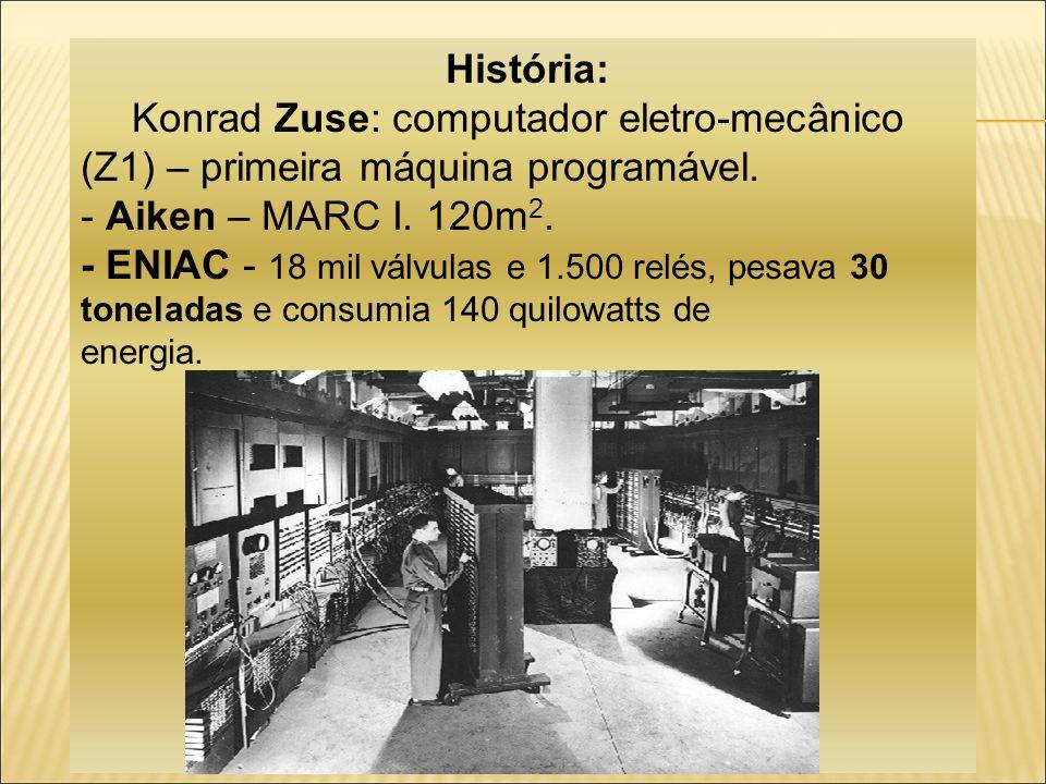 História: Konrad Zuse: computador eletro-mecânico (Z1) – primeira máquina programável.
