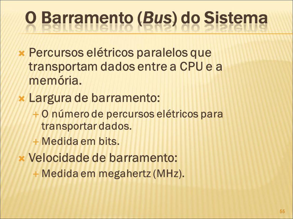 Percursos elétricos paralelos que transportam dados entre a CPU e a memória.