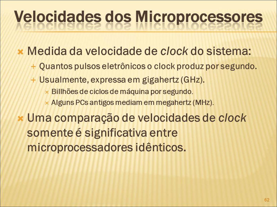 Medida da velocidade de clock do sistema: Quantos pulsos eletrônicos o clock produz por segundo.
