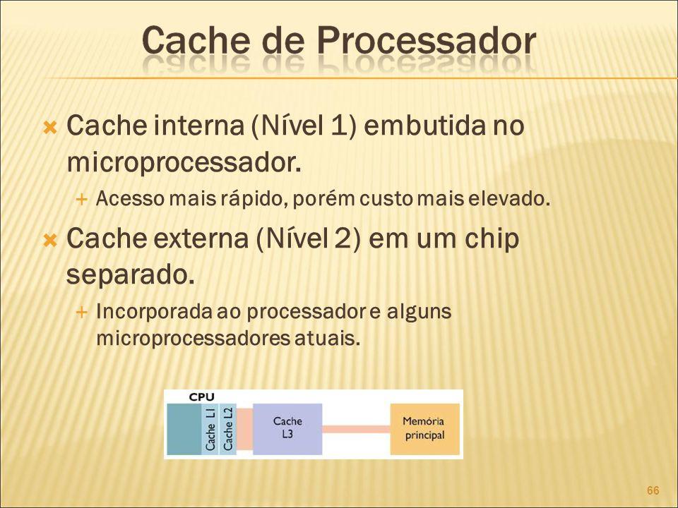 Cache interna (Nível 1) embutida no microprocessador.