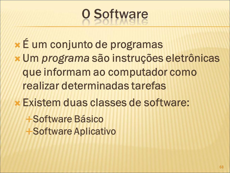 É um conjunto de programas Um programa são instruções eletrônicas que informam ao computador como realizar determinadas tarefas Existem duas classes de software: Software Básico Software Aplicativo 68