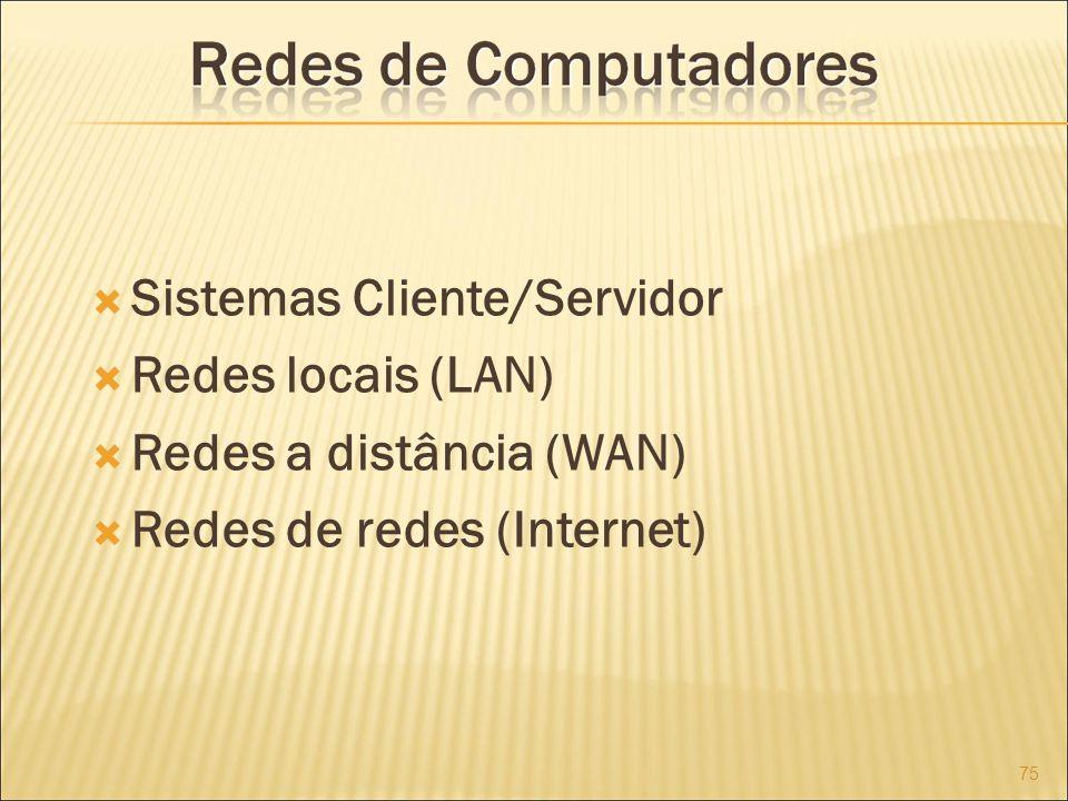 Sistemas Cliente/Servidor Redes locais (LAN) Redes a distância (WAN) Redes de redes (Internet) 75