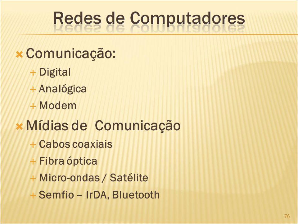 Comunicação: Digital Analógica Modem Mídias de Comunicação Cabos coaxiais Fibra óptica Micro-ondas / Satélite Semfio – IrDA, Bluetooth 76
