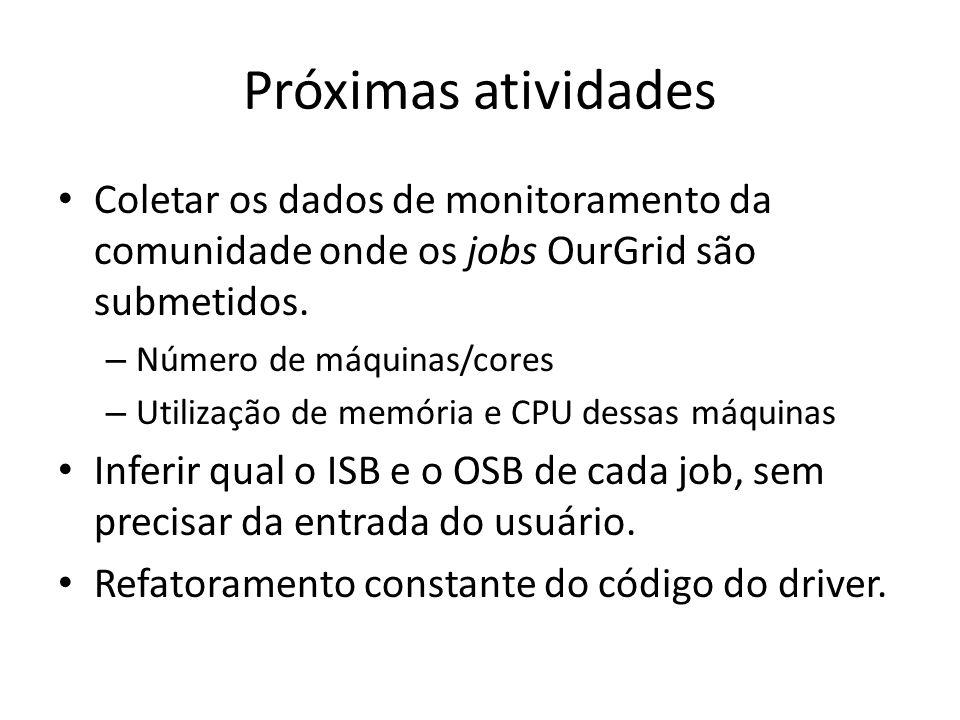Próximas atividades Coletar os dados de monitoramento da comunidade onde os jobs OurGrid são submetidos.