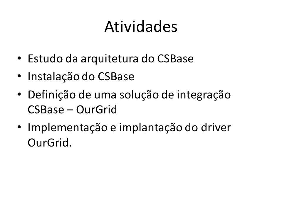 Atividades Estudo da arquitetura do CSBase Instalação do CSBase Definição de uma solução de integração CSBase – OurGrid Implementação e implantação do driver OurGrid.