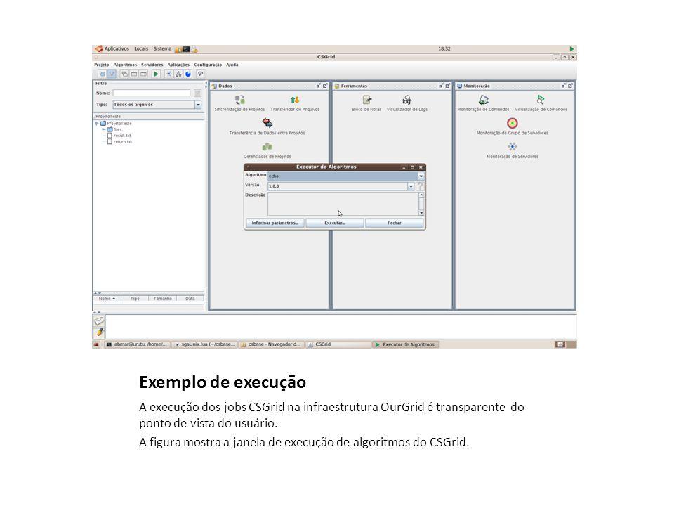 Exemplo de execução A execução dos jobs CSGrid na infraestrutura OurGrid é transparente do ponto de vista do usuário.