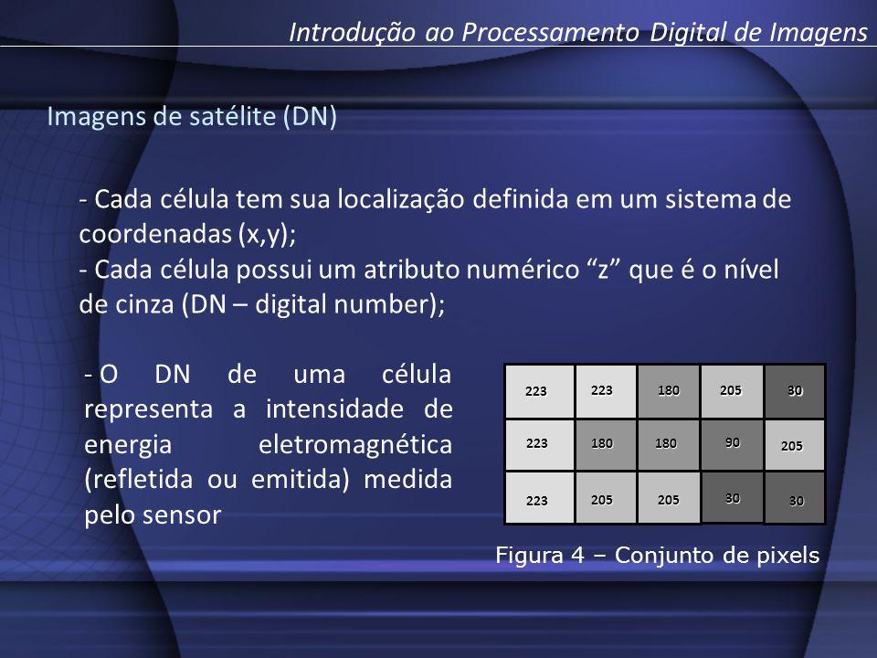 223 223 223 223 205 205 205205 180 180180 90 30 30 30 - - Cada célula tem sua localização definida em um sistema de coordenadas (x,y); - Cada célula possui um atributo numérico z que é o nível de cinza (DN – digital number); - - O DN de uma célula representa a intensidade de energia eletromagnética (refletida ou emitida) medida pelo sensor Introdução ao Processamento Digital de Imagens Imagens de satélite (DN) Figura 4 – Conjunto de pixels