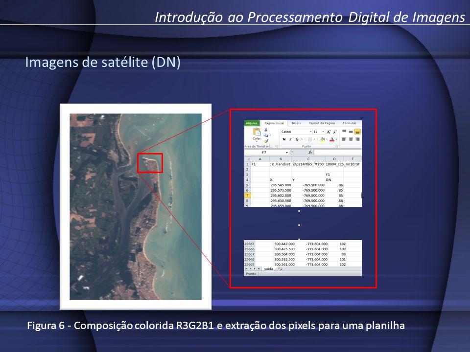 Introdução ao Processamento Digital de Imagens...... Imagens de satélite (DN) Figura 6 - Composição colorida R3G2B1 e extração dos pixels para uma pla