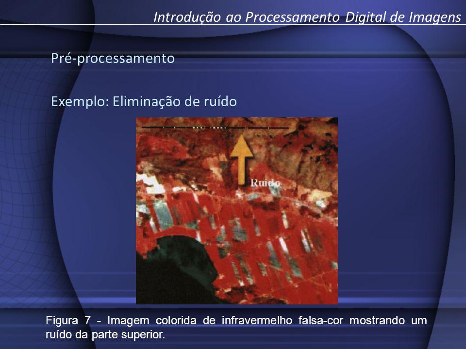 Exemplo: Eliminação de ruído Introdução ao Processamento Digital de Imagens Pré-processamento Figura 7 - Imagem colorida de infravermelho falsa-cor mostrando um ruído da parte superior.