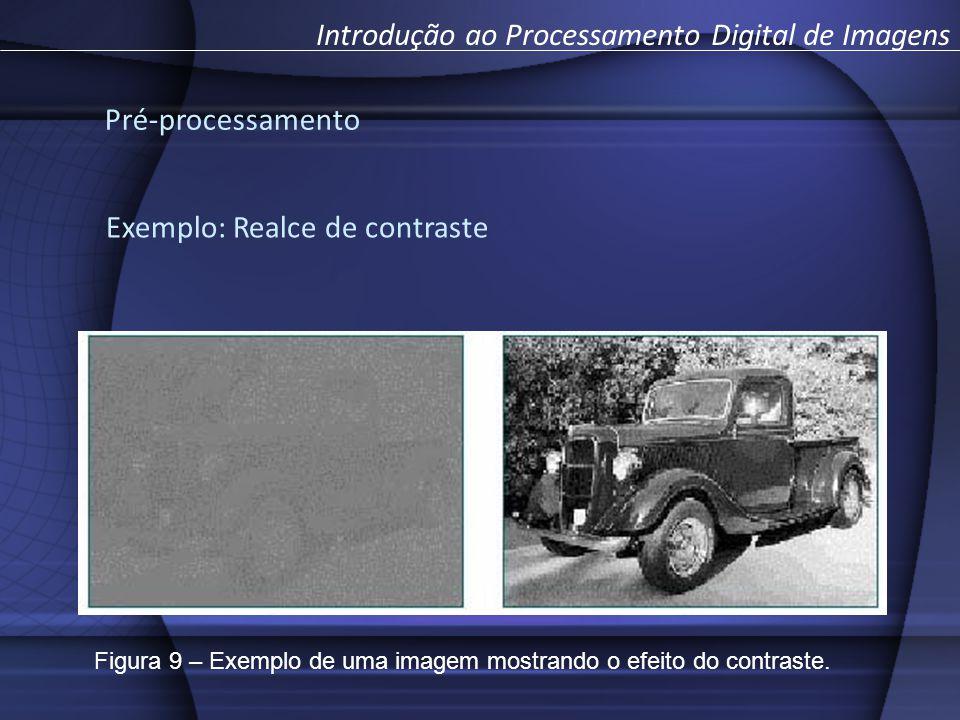 Pré-processamento Introdução ao Processamento Digital de Imagens Exemplo: Realce de contraste Figura 9 – Exemplo de uma imagem mostrando o efeito do c