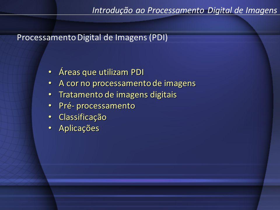 Processamento Digital de Imagens (PDI) Áreas que utilizam PDI Áreas que utilizam PDI A cor no processamento de imagens A cor no processamento de imagens Tratamento de imagens digitais Tratamento de imagens digitais Pré- processamento Pré- processamento Classificação Classificação Aplicações Aplicações Introdução ao Processamento Digital de Imagens