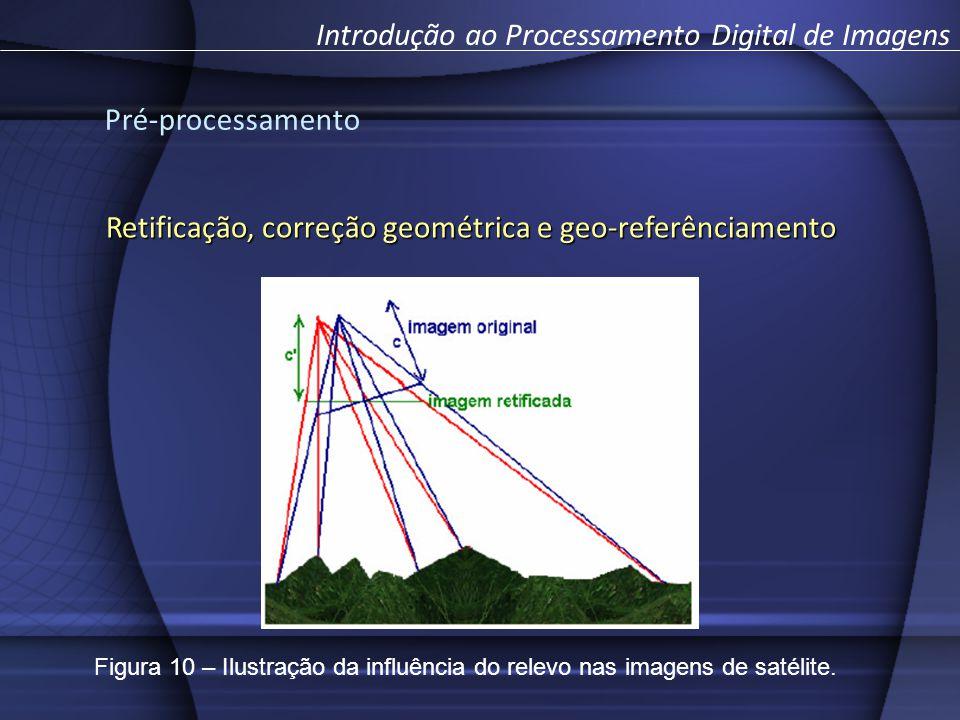Pré-processamento Introdução ao Processamento Digital de Imagens Retificação, correção geométrica e geo-referênciamento Figura 10 – Ilustração da influência do relevo nas imagens de satélite.