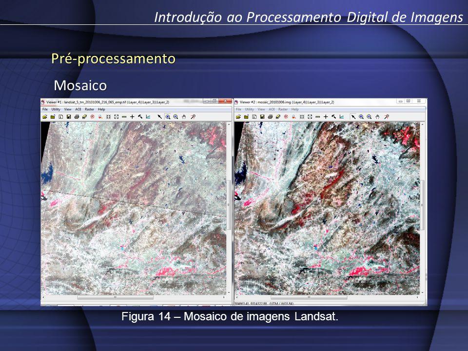 Pré-processamento Introdução ao Processamento Digital de ImagensMosaico Figura 14 – Mosaico de imagens Landsat.