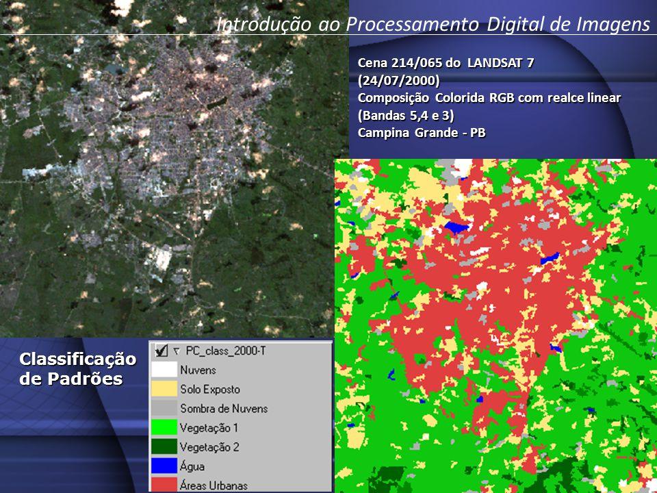 Cena 214/065 do LANDSAT 7 (24/07/2000) Composição Colorida RGB com realce linear (Bandas 5,4 e 3) Campina Grande - PB Classificação de Padrões Introdução ao Processamento Digital de Imagens