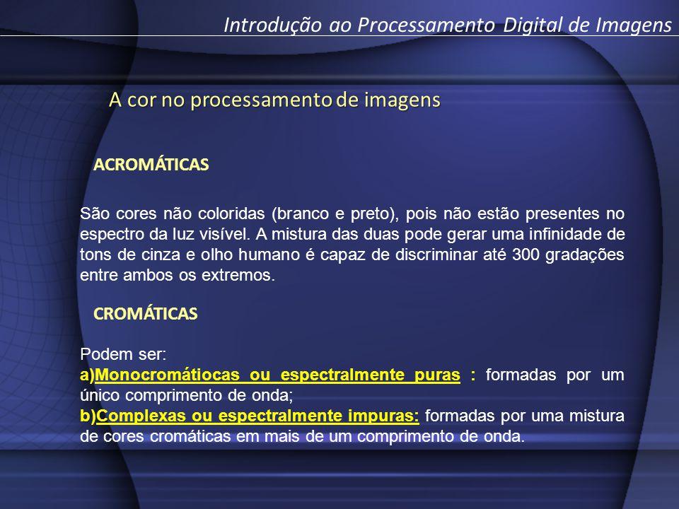 A cor no processamento de imagens Introdução ao Processamento Digital de Imagens São cores não coloridas (branco e preto), pois não estão presentes no espectro da luz visível.