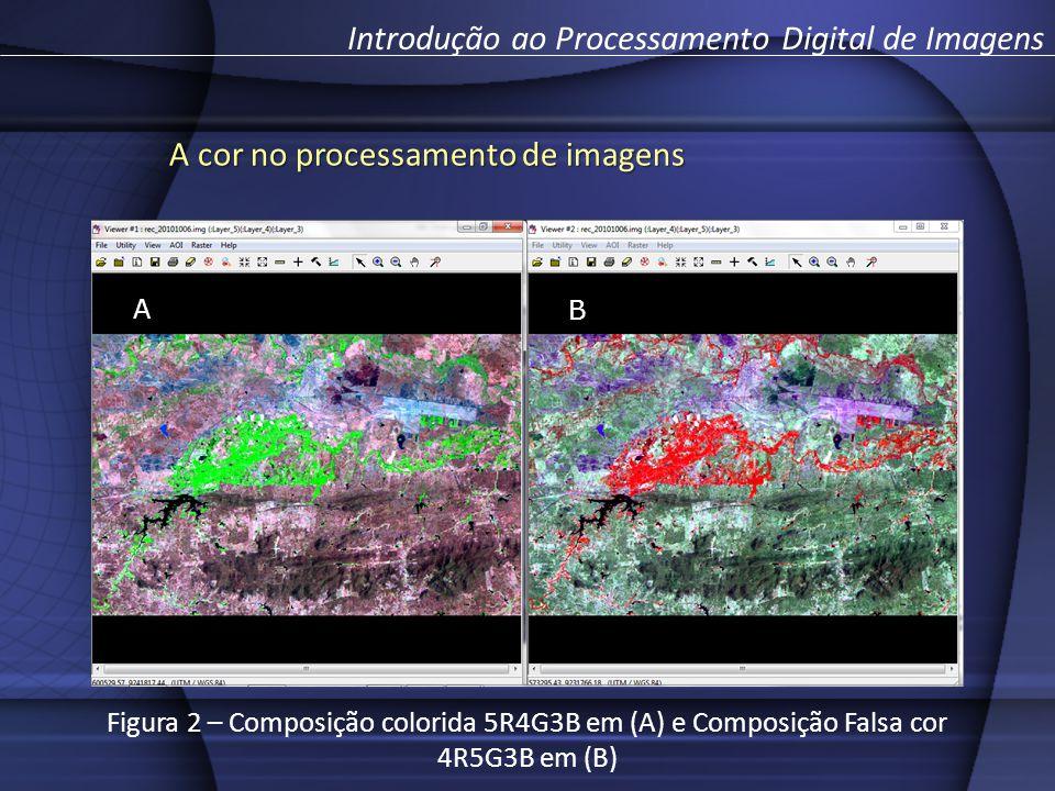 A cor no processamento de imagens Introdução ao Processamento Digital de Imagens A B Figura 2 – Composição colorida 5R4G3B em (A) e Composição Falsa cor 4R5G3B em (B)