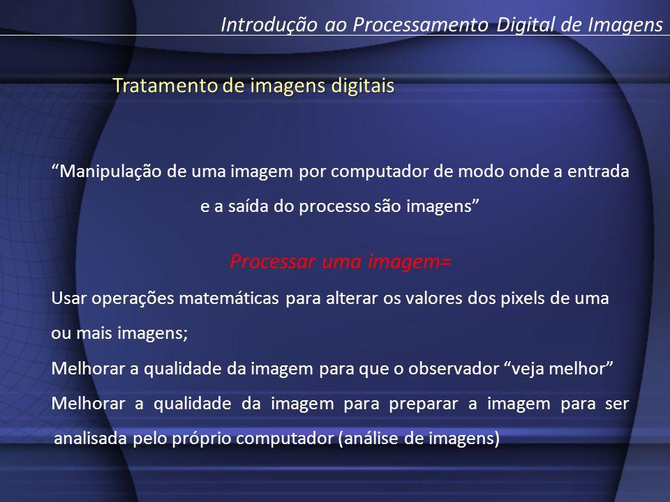 Manipulação de uma imagem por computador de modo onde a entrada e a saída do processo são imagens Processar uma imagem= Usar operações matemáticas par