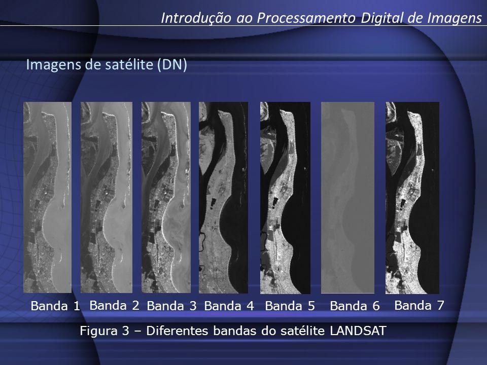 Banda 1 Banda 2 Banda 3 Banda 4 Banda 5 Banda 6 Banda 7 Figura 3 – Diferentes bandas do satélite LANDSAT Introdução ao Processamento Digital de Imagens Imagens de satélite (DN)