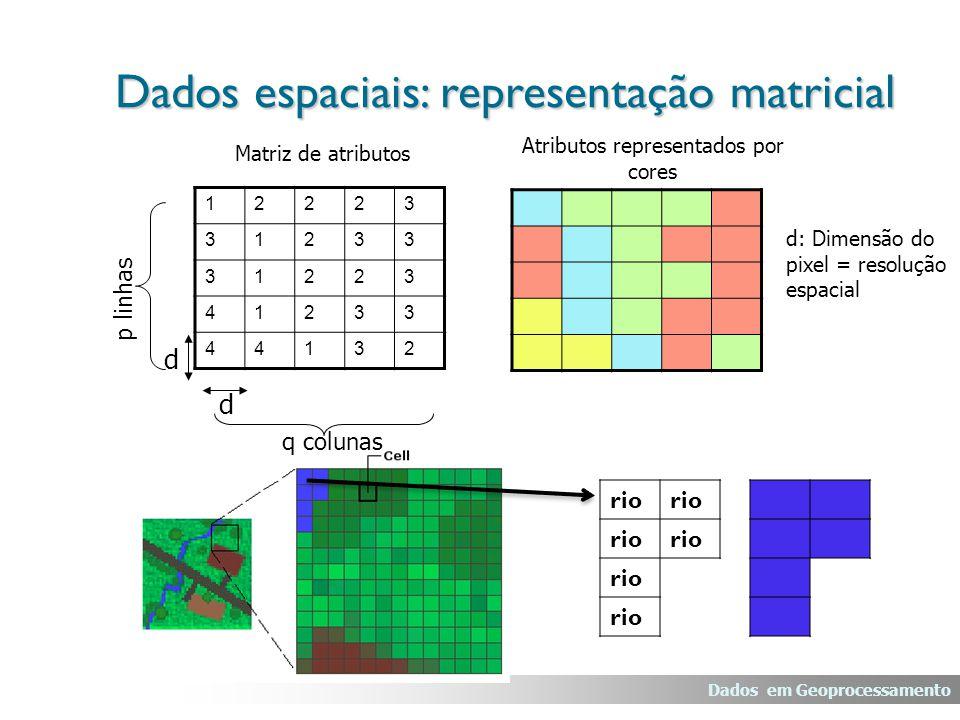 Dados em Geoprocessamento Dados espaciais: representação matricial Atributos representados por cores Matriz de atributos 12223 31233 31223 41233 44132