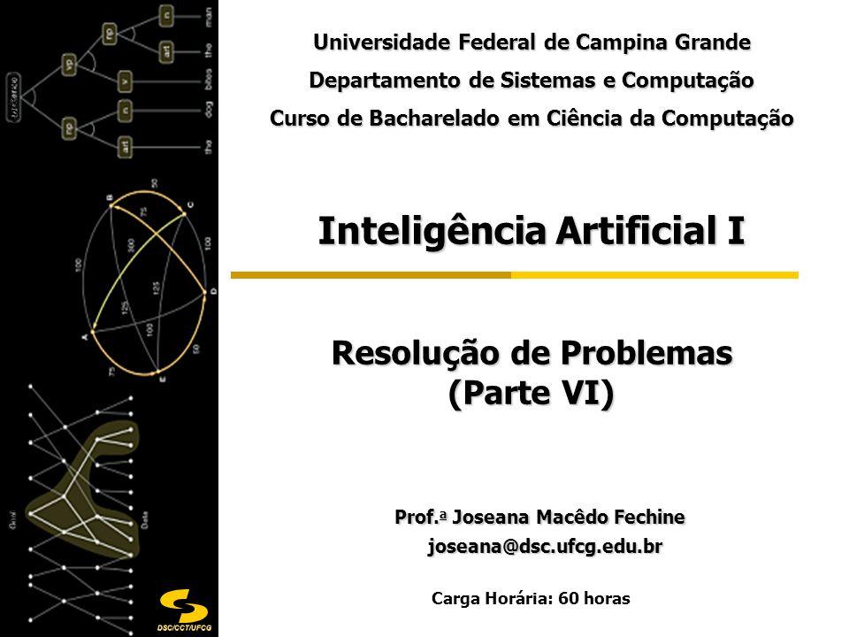 DSC/CCT/UFCG Inteligência Artificial I Resolução de Problemas (Parte VI) Prof. a Joseana Macêdo Fechine Prof. a Joseana Macêdo Fechine joseana@dsc.ufc