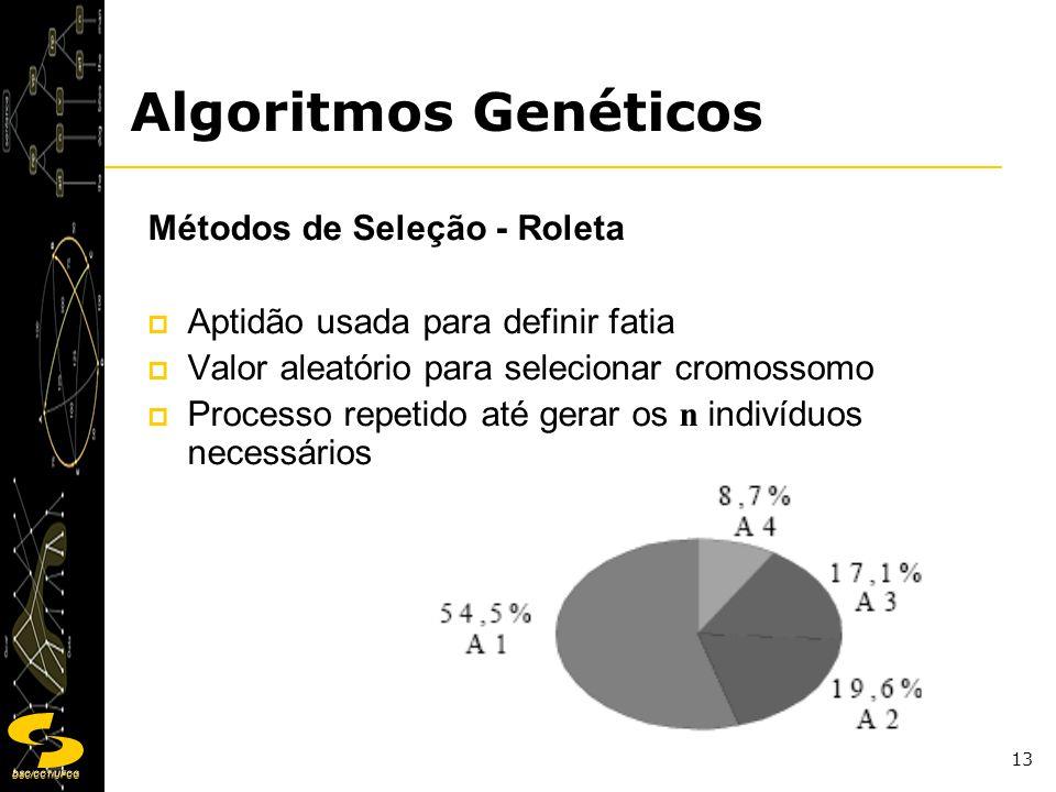 DSC/CCT/UFCG 13 Métodos de Seleção - Roleta Aptidão usada para definir fatia Valor aleatório para selecionar cromossomo Processo repetido até gerar os