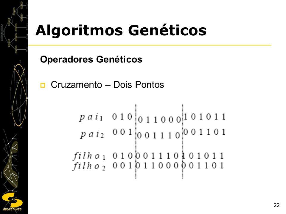 DSC/CCT/UFCG 22 Operadores Genéticos Cruzamento – Dois Pontos Algoritmos Genéticos