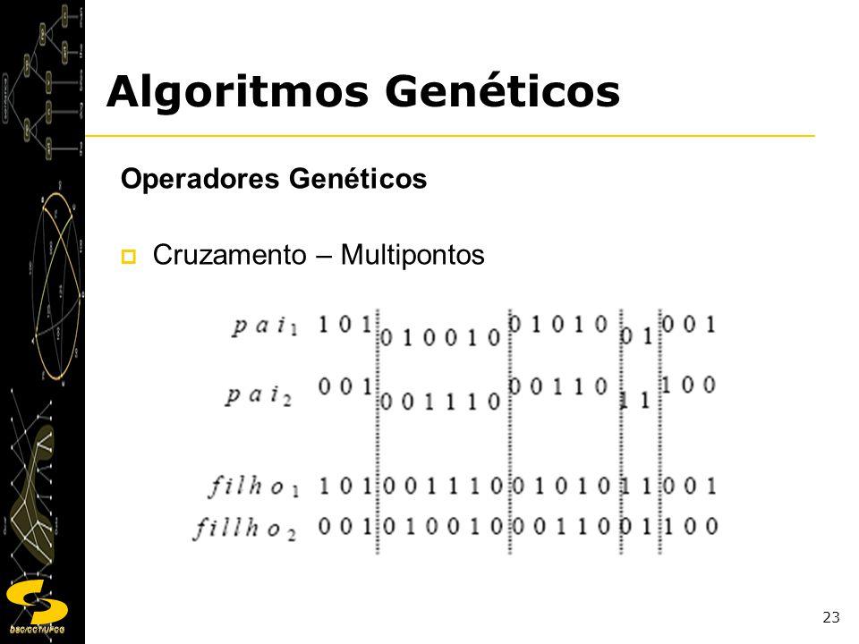 DSC/CCT/UFCG 23 Operadores Genéticos Cruzamento – Multipontos Algoritmos Genéticos
